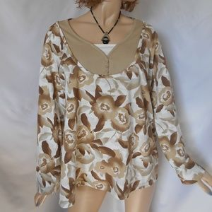 BASIC EDITIONS 1X Faux 2 PC Look Top Sweater